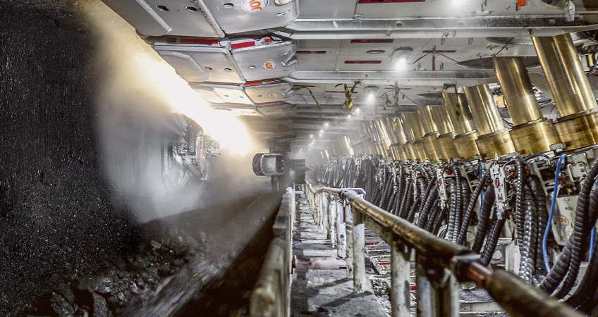 An underground Komatsu-powered longwall mine operation