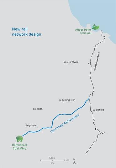Adani Mine & Rail Map