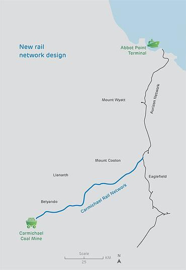 Adani Mine & Rail Map