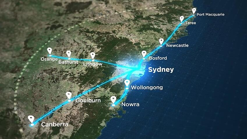 Proposed map of the NSW regional fast rail project