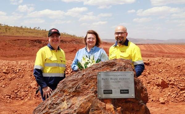 Hancock Prospecting team with Gina Rineheart at iron ore mining operation