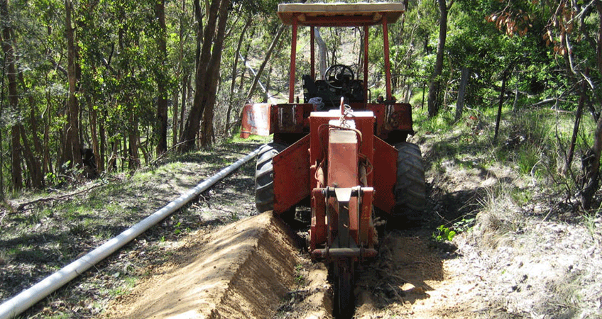 Trenching in the bush