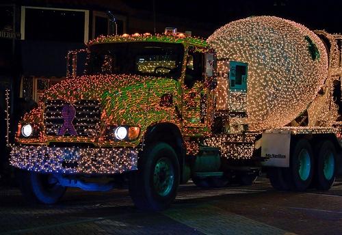 christmas lights cement truck