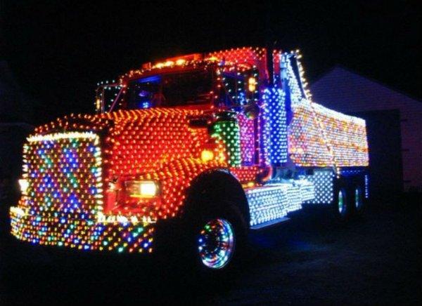 road truck christmas lights