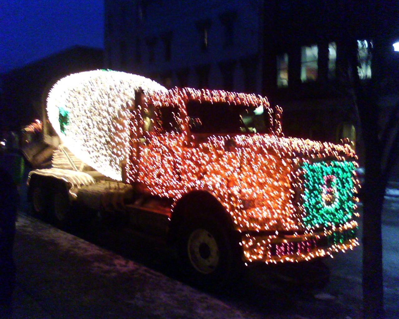 cement truck christmas lights