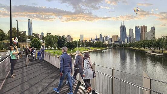 An artists impression of four-metre-wide separated pedestrian and cycling paths on the Swan Street Bridge