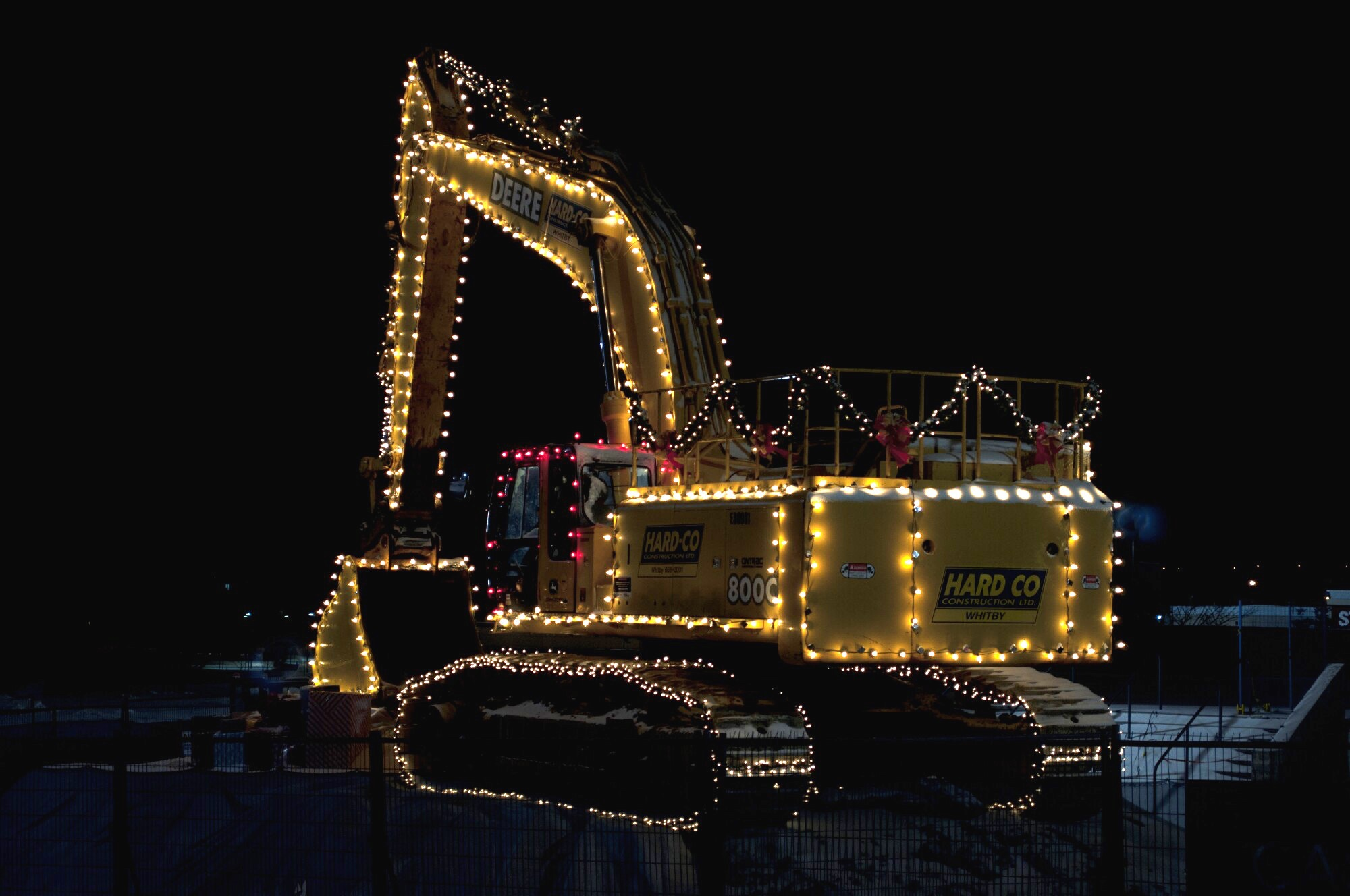 excavator christmas lights - earthmoving
