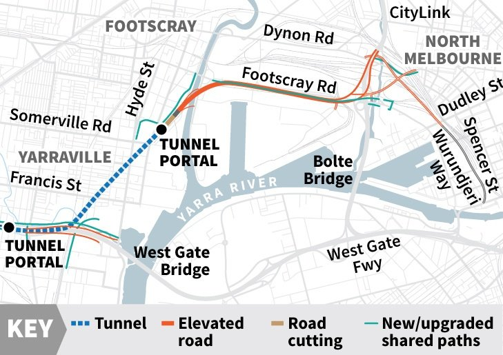 West Gate Tunnel Route