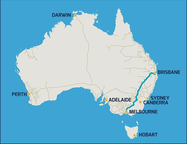 Inland Rail Map via Australian Government