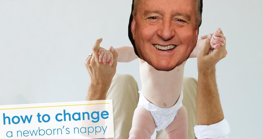 Alan Jones gets a nappy change