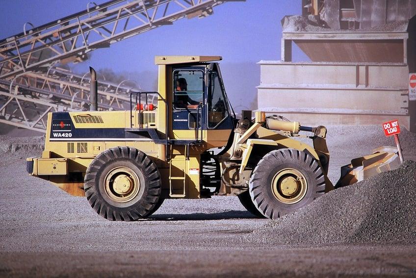 Front-end loader on construction site