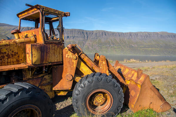 Old, rusty front-end loader