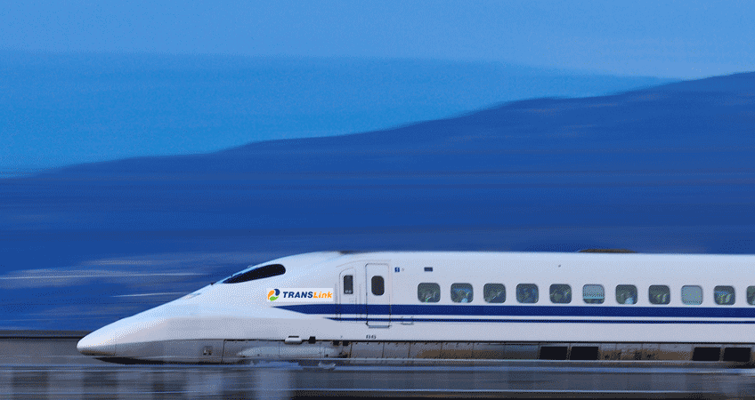 Mock image of a bullet train with Translink logo